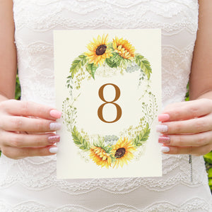 Rustic Sunflower Table Numbers, Table Names, Rustic Wedding, Country Wedding, Sunflowers, 5 Pack