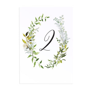 Greenery Table Numbers, Table Names, Watercolour Foliage, Greenery, Eucalyptus Invites, Green Wreath, Botanical Wedding, 5 Pack
