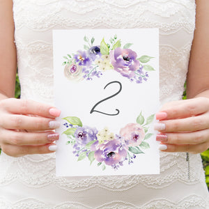 Lilac and Blush Table Numbers, Table Names, Purple Wedding, Lilac Wedding, Blush, 5 Pack