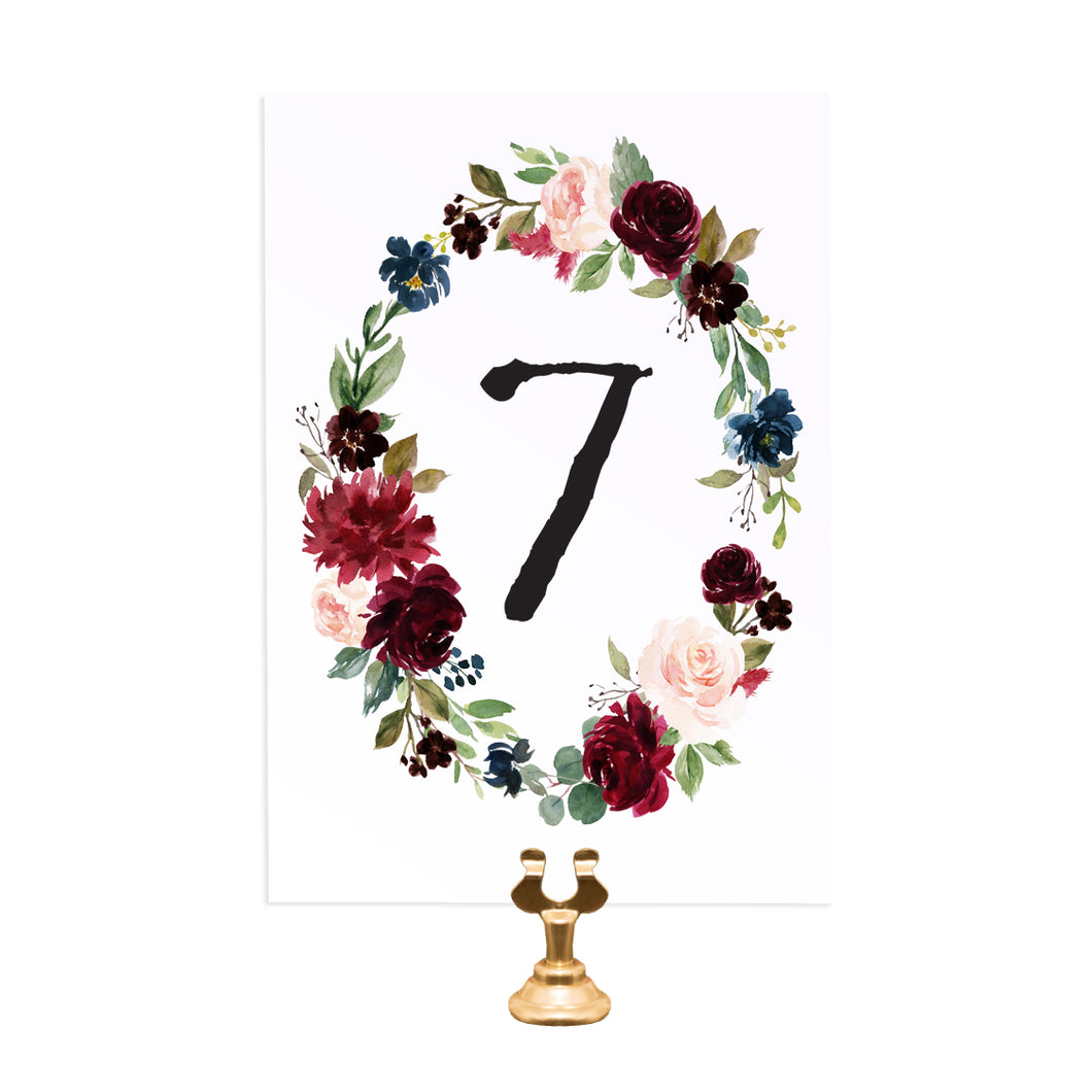 Burgundy, Navy & Blush Floral Table Numbers, Table Names, Burgundy Navy Invite, Rustic Floral, Blush Wedding Invite, Boho Floral Wedding, 5 Pack