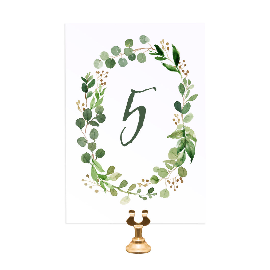 Green Leaf Table Numbers, Table Names, Watercolour Foliage, Greenery, Eucalyptus Invites, Green Wreath, Botanical Wedding, 5 Pack