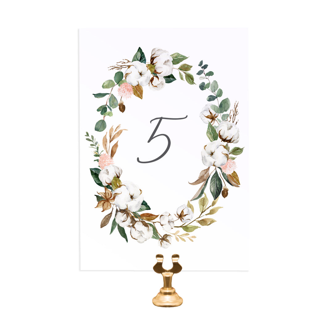Magnolia Table Numbers, Table Names, Ivory Floral, Boho Wedding, Cotton Wedding, Autumn Wedding, 5 Pack