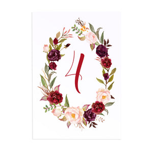Boho Floral Antler Table Numbers, Table Names, Rustic Wedding Invitation, Floral Wedding Invitation, Red Rose, Rustic Country, 5 Pack