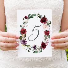 Red and Gold Table Numbers, Table Names, Ruby Red, Burgundy, Blush, Red Floral, 5 Pack