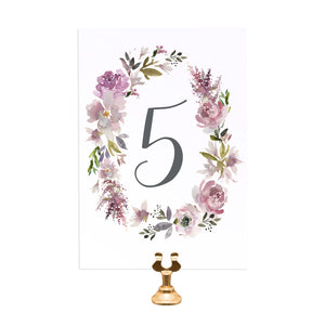 Dusty Rose Table Numbers, Table Names, Mauve, Dusky Pink, Pink Rose, Blush Wedding, 5 Pack