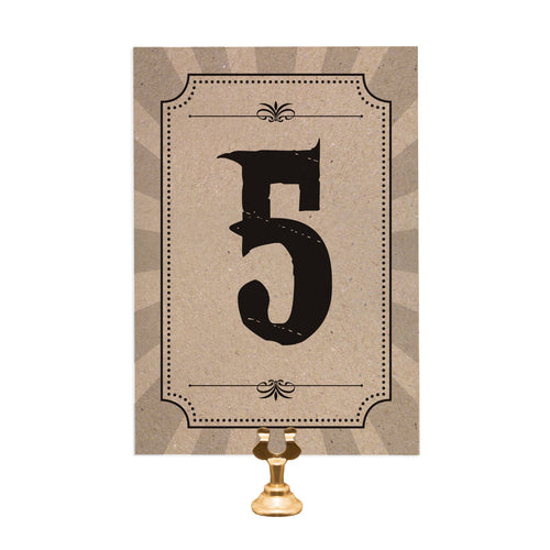 Circus Ticket Table Numbers, Table Names, Recycled Kraft, Fun Fair, Carnival, Ticket Invitations, 5 Pack