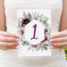 Plum Floral Table Numbers, Table Names, Purple Wedding, Lilac, Mauve, Purple and Blush, 5 Pack