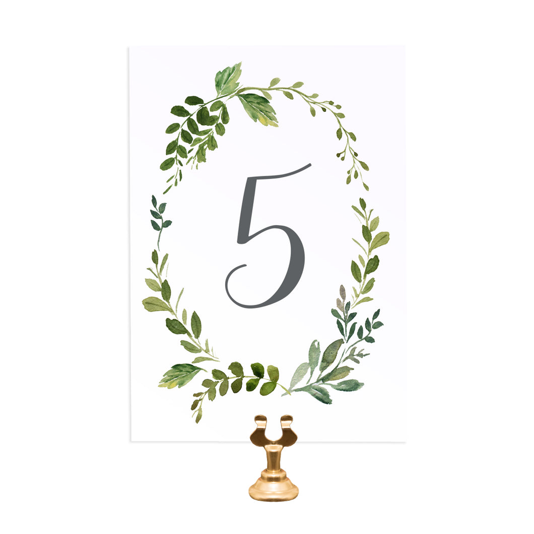 Botanical Garden Table Numbers, Table Names, Greenery Wedding, Leaf Wedding, Botanical Garden, Foliage, 5 Pack