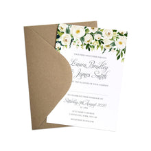 White Wedding Invitations, Floral Drop, White Floral Watercolour, White Peony, White Rose Invites, Botanical Wedding, 10 Pack