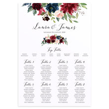 Burgundy, Navy & Blush Floral Table Plan, Seating Plan, Rustic Wedding Invitation, Floral Wedding Invitation, Red Rose, Rustic Country, A2 Size