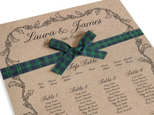 Scottish Thistle Table Plan, Seating Plan, Thistle Wreath, Scottish Wedding, Scottish Invitations, Highland Wedding, Tartan Wedding, A2 Size