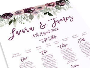 Plum Floral Table Plan, Seating Plan, Purple Wedding, Lilac, Mauve, Purple and Blush, A2 Size