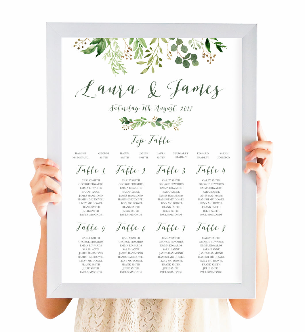 Green Leaf Table Plan, Seating Plan, Watercolour Foliage, Greenery, Eucalyptus Invites, Green Wreath, Botanical Wedding, A2 Size