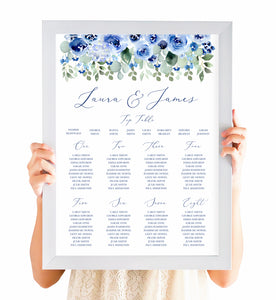 Navy Rose Table Plan, Seating Plan, Watercolour roses, Navy Wedding, Blue Wedding, A2 Size
