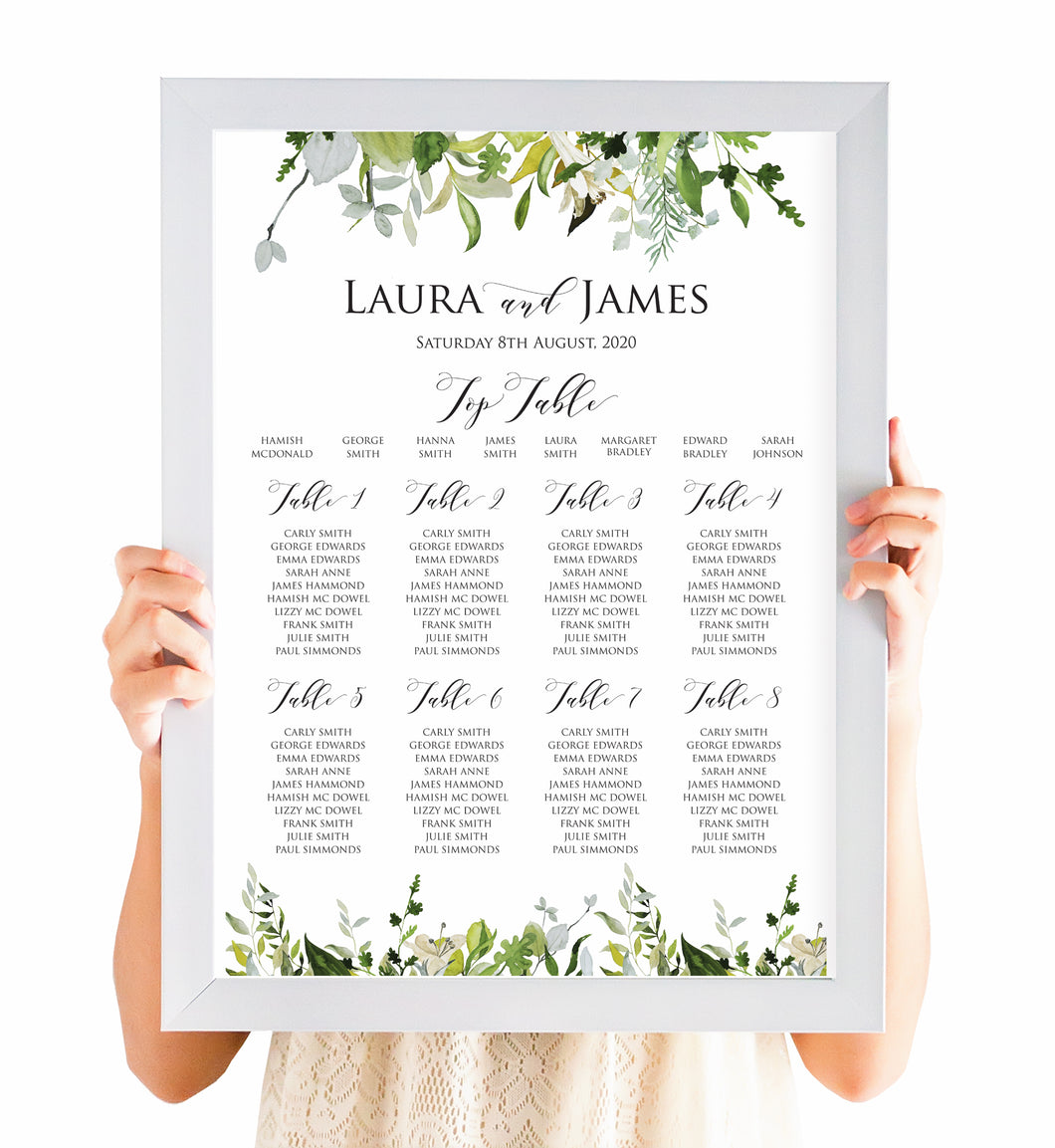 Greenery Table Plan, Seating Plan, Watercolour Foliage, Greenery, Eucalyptus Invites, Green Wreath, Botanical Wedding, A2 Size