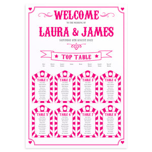 Carnival Wedding Table Plan, Seating Plan, Circus Wedding, Colourful Wedding, A2 Size