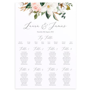 Magnolia Table Plan, Seating Plan, Ivory Floral, Boho Wedding, Cotton Wedding, Autumn Wedding, A2 Size