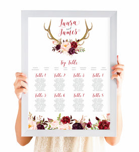 Boho Floral Antler Table Plan, Seating Plan, Rustic Wedding Invitation, Floral Wedding Invitation, Red Rose, Rustic Country, A2 Size