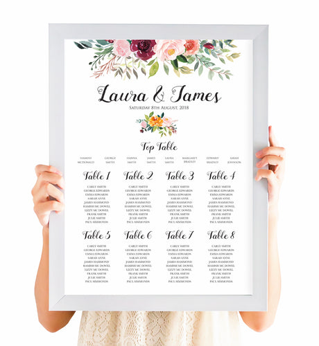 Paprika Table Plan, Seating Plan, Orange Floral Wedding Invitation, Autumn Wedding, Fall Wedding, A2 Size