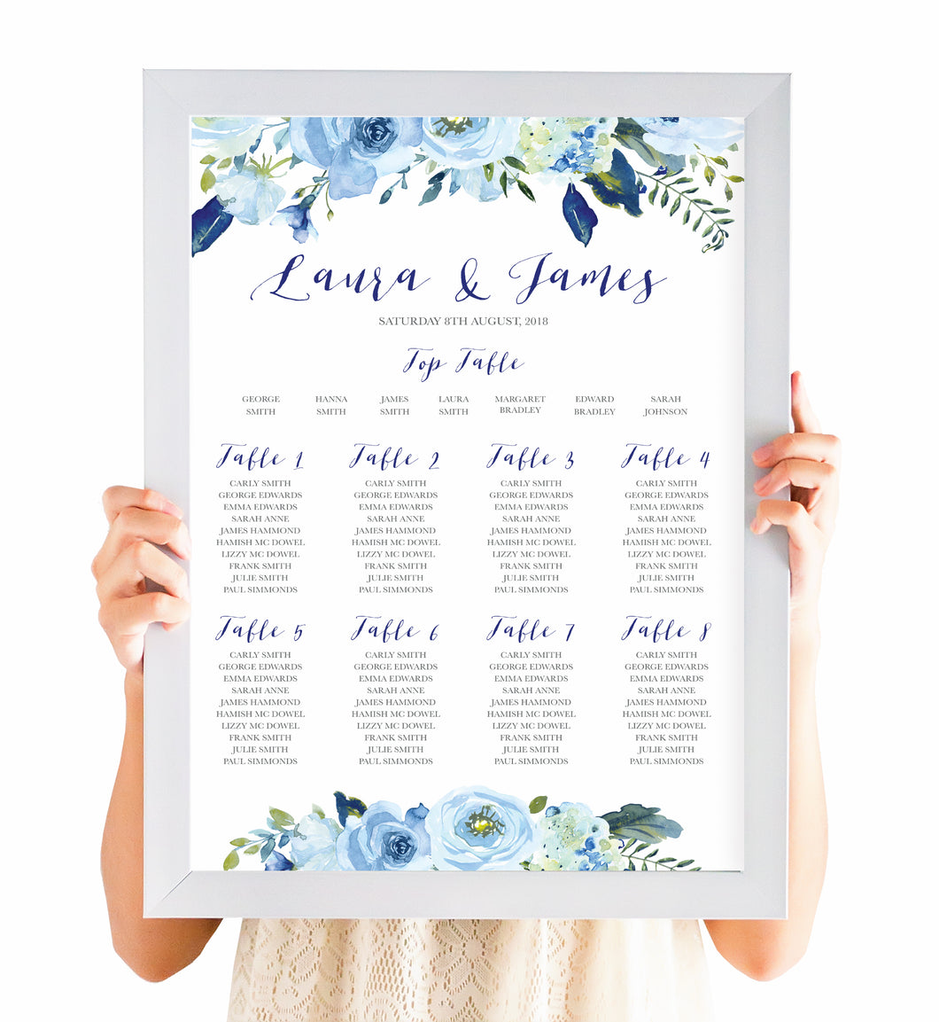 Blue Floral Table Plan, Seating Plan, Blue Watercolour flowers, Baby Blue, Pastel Blue Wedding, A2 Size