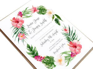 Tropical Floral Wedding Invitations, Floral Wreath, Beach Wedding, Tropical Wedding, 10 Pack