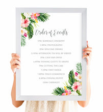 Tropical Floral Order of Events Poster, Welcome Sign, Beach Wedding, Tropical Wedding