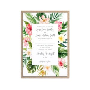 Tropical Floral Wedding Invitations, Floral Frame, Beach Wedding, Tropical Wedding, 10 Pack
