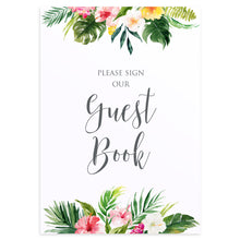 Tropical Floral Wedding Guest Book Sign, Please Sign Our Guest Book Sign, Beach Wedding, Tropical Wedding