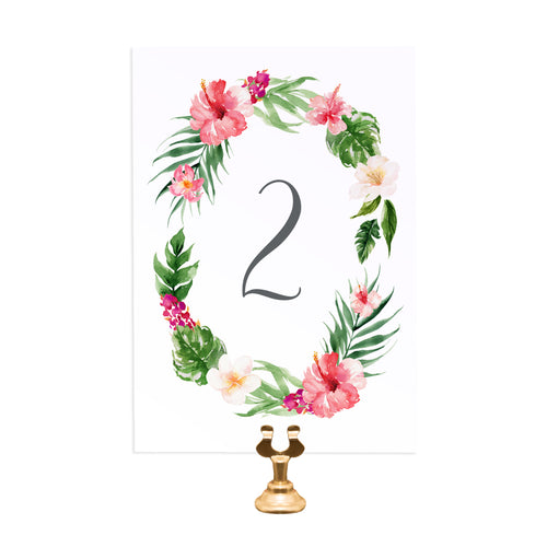Tropical Floral Table Numbers, Table Names, Beach Wedding, Tropical Wedding