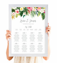 Tropical Floral Table Plan, Seating Plan, Beach Wedding, Tropical Wedding, A2 Size
