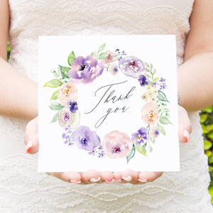 Lilac and Blush Thank you cards, Purple Wedding, Lilac Wedding, Blush, 10 Pack