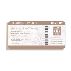 Vintage Passport Wedding Invitations, Boarding Pass RSVP Card, Wedding Abroad, Destination Wedding, Travel Wedding, Plane Ticket Invite, 10 Pack