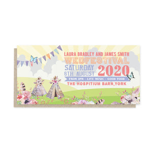 Boho Festival Ticket Wedding Invitations, Festival Wedding, Festival Invitation, Camping Wedding, Wedding Tent, Festival Ticket, Wedfest, 10 Pack