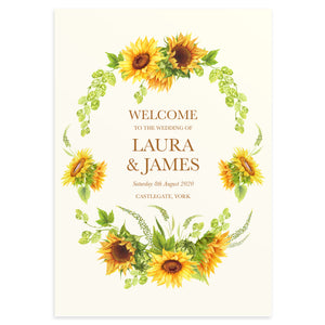 Rustic Sunflower Welcome Sign, Rustic Wedding, Country Wedding, Sunflowers