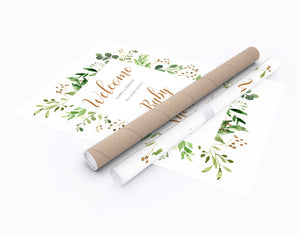 Foliage Baby Shower Welcome Poster, Greenery Baby Shower, Green Leaf