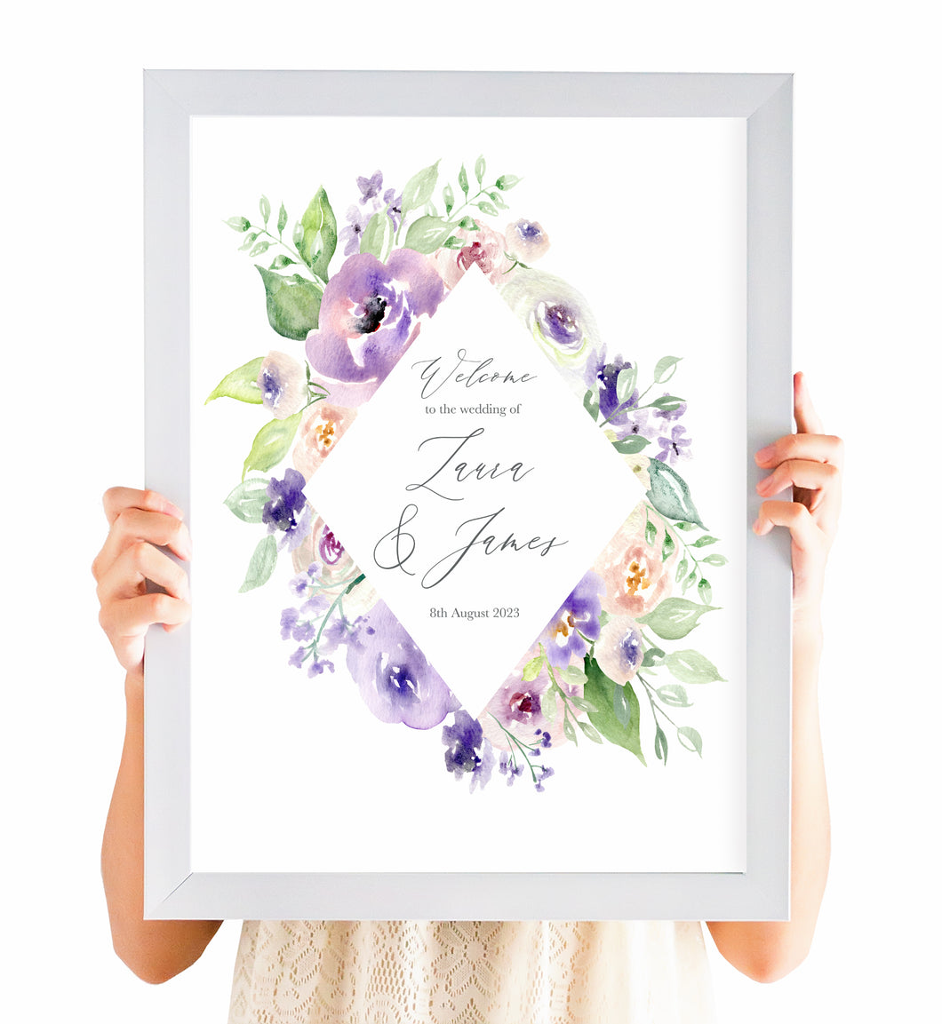 Lilac and Blush Welcome Sign, Welcome Sign, Purple Wedding, Lilac Wedding, Blush