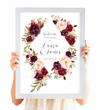 Boho Red Rose Welcome Sign, Burgundy Invite, Red Roses, Red Wedding, Boho Floral Wedding