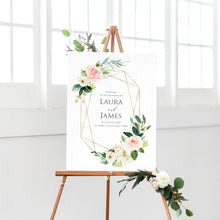 Blush and Gold Welcome Sign, Pink Watercolour flowers, Blush Wedding