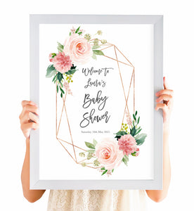 Blush Rose Baby Shower Welcome Poster, Blush Baby Shower, Blush Flowers, Blush Ivory