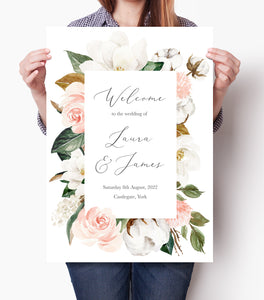 Magnolia Welcome Sign, Welcome Sign, Ivory Floral, Boho Wedding, Cotton Wedding, Autumn Wedding