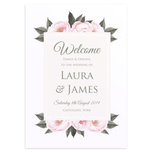 Vintage Peony Welcome Sign, Peony Wedding, Pink Flowers, Blush Peonies, Botanical, Modern Wedding