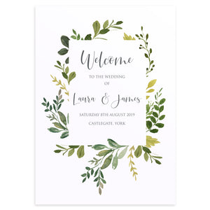 Botanical Garden Welcome Sign, Welcome Sign, Greenery Wedding, Leaf Wedding, Botanical Wedding
