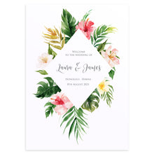 Tropical Floral Welcome Sign, Beach Wedding, Tropical Wedding