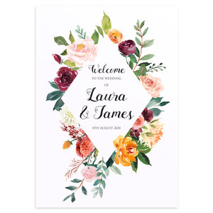 Paprika Welcome Sign, Orange Floral Wedding Invitation, Autumn Wedding, Fall Wedding