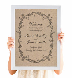 Scottish Thistle Welcome Sign, Thistle Wreath, Scottish Wedding, Scottish Invitations, Highland Wedding, Tartan Wedding