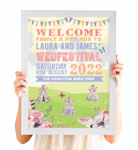 Boho Festival Ticket Welcome Sign, Festival Wedding, Festival Invitation, Camping Wedding, Wedding Tent, Festival Ticket, Wedfest