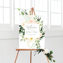 Blush Floral Welcome Sign, Blush Wedding, Pink Flowers, Blush Ivory, Botanical, Modern Wedding