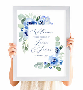Navy Rose Welcome Sign, Watercolour roses, Navy Wedding, Blue Wedding