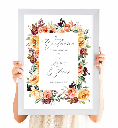 Autumn Floral Welcome Sign, Welcome Sign, Autumn Wedding, Fall Wedding, Burgundy & Orange, Peach Wedding