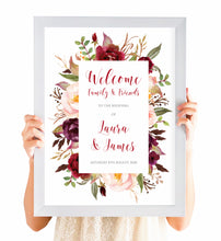 Boho Floral Antler Welcome Sign, Rustic Wedding Invitation, Floral Wedding Invitation, Red Rose, Rustic Country